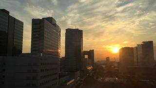 冬の入院、有明の夕日